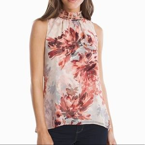 • white house black market floral sleeveless top •